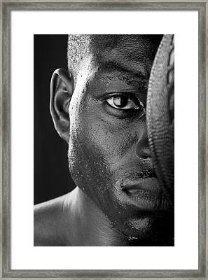 Basketball Player Close Up Portrait Framed Print by Val Black Russian Tourchin