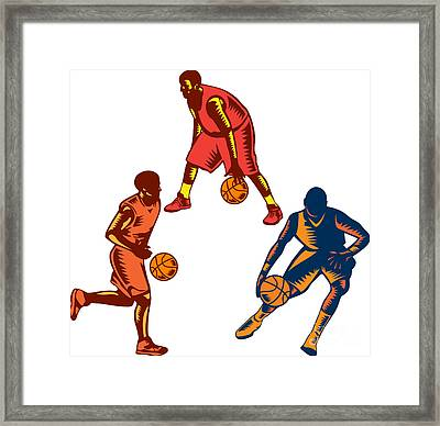 Basketball Player Dribble Woodcut Collection Framed Print by Aloysius Patrimonio