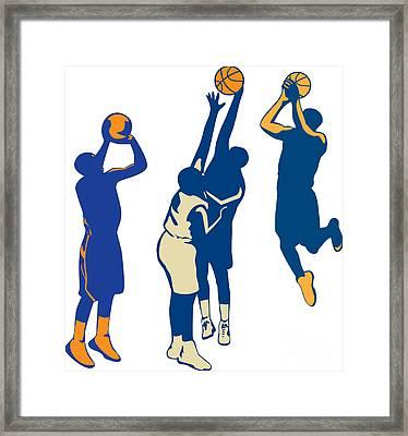 Basketball Player Shoot Ball Retro Collection Framed Print by Aloysius Patrimonio