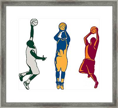 Basketball Player Shooting Retro Collection Framed Print by Aloysius Patrimonio