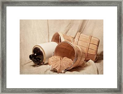 Baskets With Crock Framed Print by Tom Mc Nemar