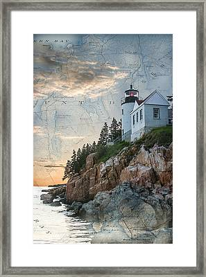 Bass Harbor Lighthouse On Maine Nautical Chart Framed Print by Jeff Folger