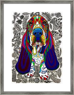 Basset Hound Framed Print by Please Draw My Dog