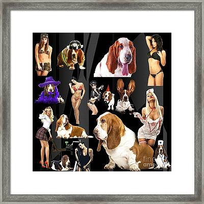 Bassets And Babes Framed Print by John Rizzuto