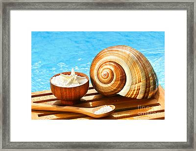 Bath Salts And Sea Shell By The Pool Framed Print by Sandra Cunningham