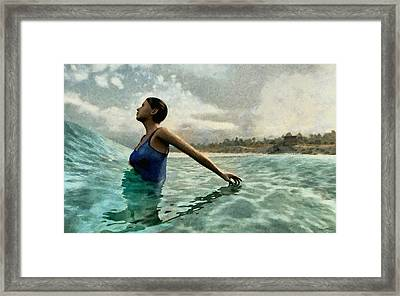 Bather Painted Framed Print by Cynthia Decker