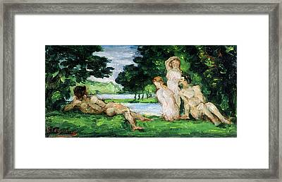 Bathers Male And Female Framed Print by Paul Cezanne