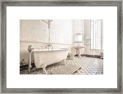 Bathroom In White - Urban Decay Framed Print by Dirk Ercken