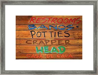 Bathroom Sign Framed Print by James Eddy