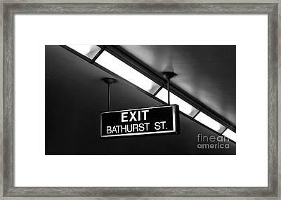 Bathurst Street Subway Exit  Framed Print by Nina Silver