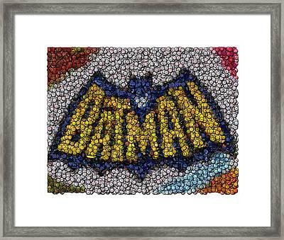 Batman Bottle Cap Mosaic Framed Print by Paul Van Scott
