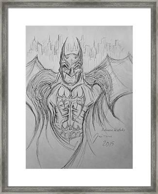 Batman Dark Knight Sketch Framed Print by Jaime Paberzis