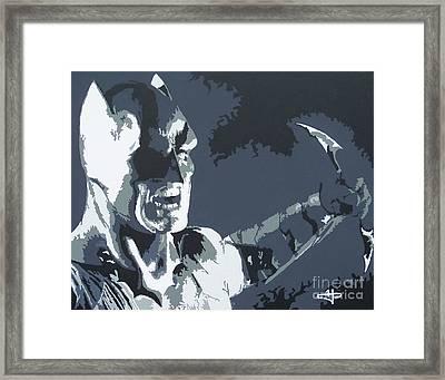 Batman- Shadow Of Justice Framed Print by Kelly Hartman