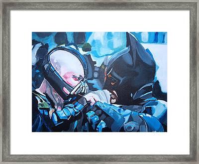 Batman Vs Bane Framed Print by Martin Putsey