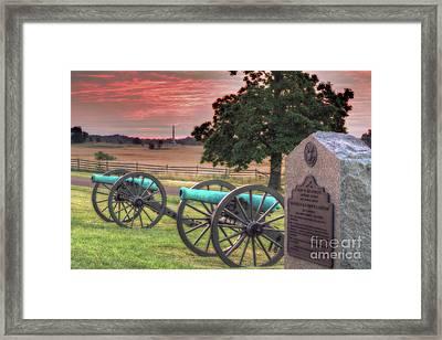 Battery F Cannon Gettysburg Battlefield Framed Print by Randy Steele