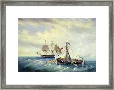 Battle Between The Russian Ship Opyt And A British Frigate Off The Coast Of Nargen Island  Framed Print by Leonid Demyanovich Blinov