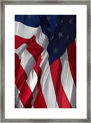Battle Flag Flies Aboard Uss Cape St. George Framed Print by John King