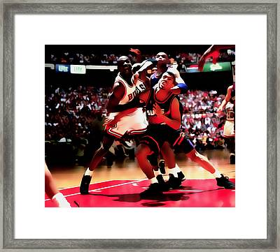 Battle In The Paint II Framed Print by Brian Reaves