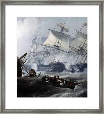 Battle Of Camperdown Framed Print by George the elder Chambers