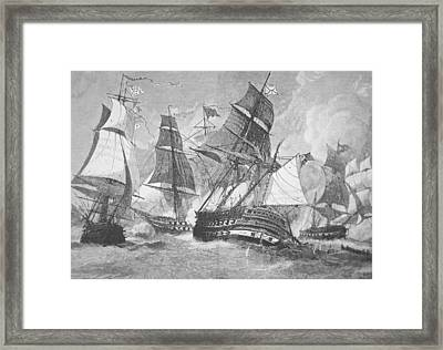Battle Of Chesapeake Bay Framed Print by Julian Oliver Davidson
