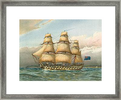 Battle Ship Framed Print by William Frederick Mitchell