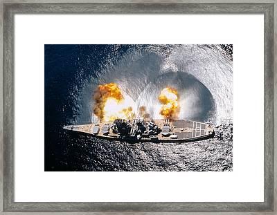 Battleship Iowa Firing All Guns Framed Print by Stocktrek Images