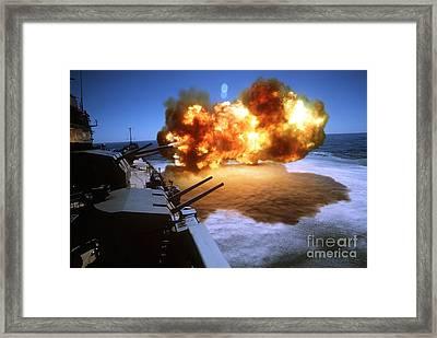 Battleship Uss Missouri Fires One Framed Print by Stocktrek Images