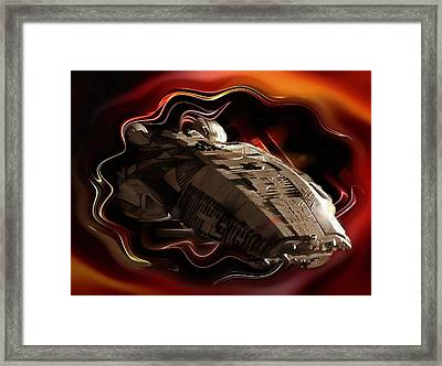 Battlestar Galactica Emerges From The Stargate Framed Print by Mario Carini