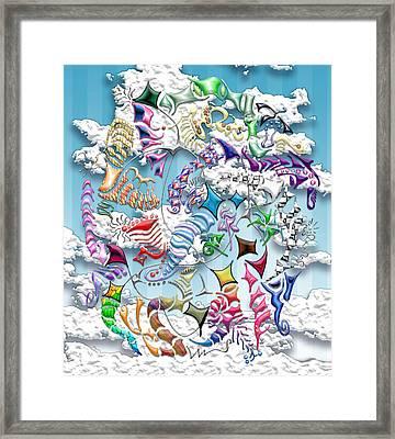 Battling Kites -- Blue Framed Print by Mark Sellers