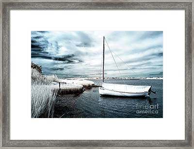 Bay Boat Blue Infrared Framed Print by John Rizzuto