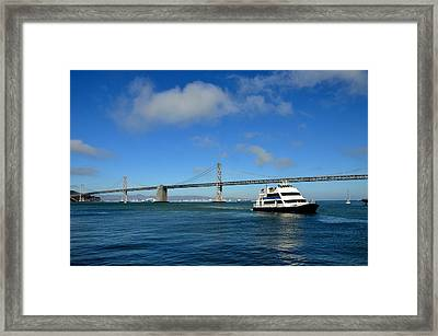 Bay Bridge Ship San Francisco Framed Print by Andrew Dinh