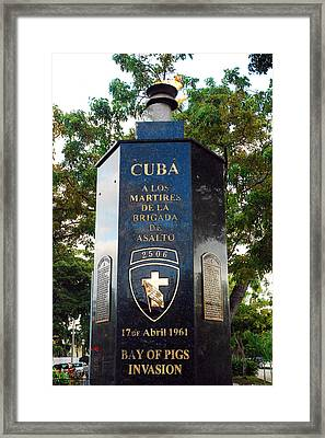 Bay Of Pigs Invasion Memorial Framed Print by James Kirkikis