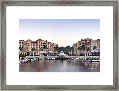 Bayfront Shopping Center And Marina Framed Print by Rob Tilley