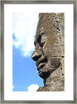 Bayon Face Framed Print by Marion Galt
