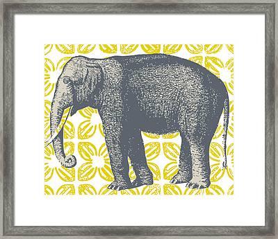 Bazaar Elephant Yellow Framed Print by Thomas Paul