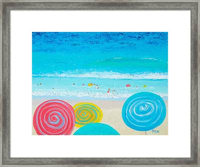 Beach Art - Lollipop Umbrellas Framed Print by Jan Matson