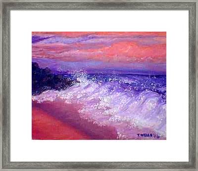 Beach At Sunrise Framed Print by Tanna Lee M Wells