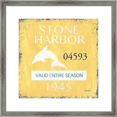 Beach Badge Stone Harbor Framed Print by Debbie DeWitt
