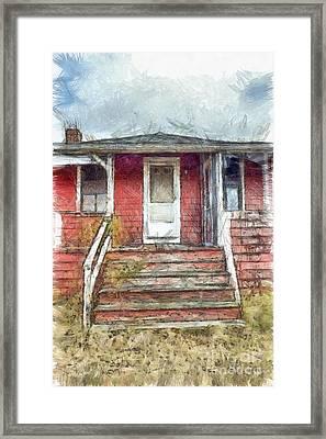 Beach Cottage Salisbury Beach Pencil Framed Print by Edward Fielding