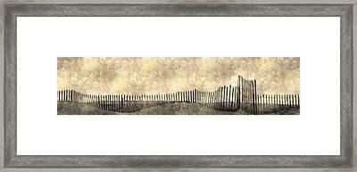 Beach Fence Long Island Framed Print by KM Corcoran