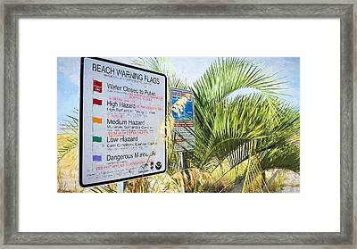 Beach Flags In Pensacola Framed Print by JC Findley