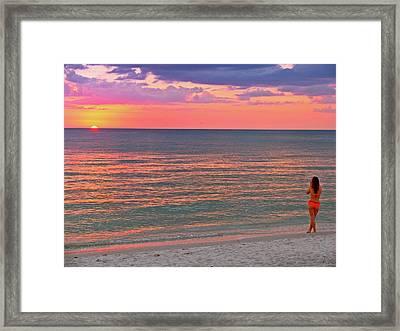 Beach Girl And Sunset Framed Print by Scott Mahon