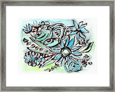 Beach Glass Flowers 1- Art By Linda Woods Framed Print by Linda Woods