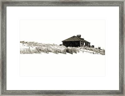 Beach House - Jersey Shore Framed Print by Angie Tirado
