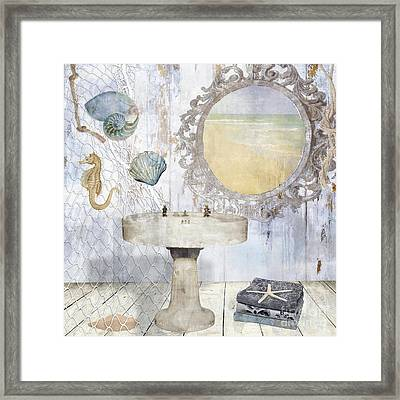 Beach House Bath II Framed Print by Mindy Sommers