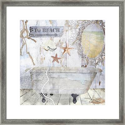 Beach House Bath Framed Print by Mindy Sommers