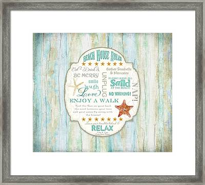 Beach House Rules - Refreshing Shore Typography Framed Print by Audrey Jeanne Roberts