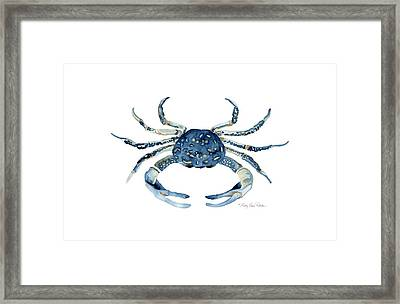 Beach House Sea Life Blue Crab Framed Print by Audrey Jeanne Roberts