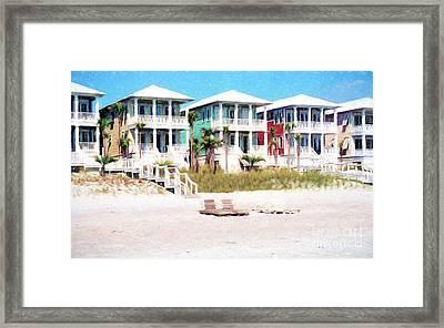 Beach Houses Along A Florida White Sandy Beach Framed Print by Vizual Studio