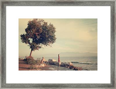 Beach In Roda - Greece Framed Print by Cambion Art